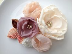 SALE VintageInspired Fabric Flower Bridal by DinkybirdBoutique, $52.00