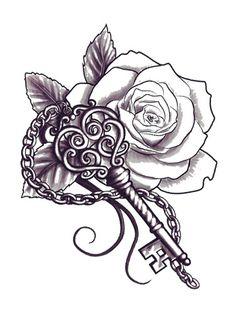 Rose & Key tattoo