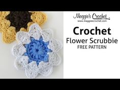 ▶ Floral Scrubby Free Crochet Pattern - Right Handed - YouTube