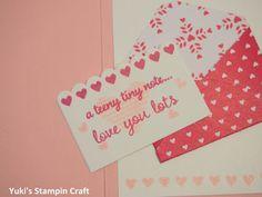 スタンピンアップ! フォックス・ビルダーパンチとシールド・ウィズ・ラブ・スタンプセットでバレンタインのミニカード! Valentine's Day mini card using Fox Builder Punch and Sealed With Love stamp set, Stampin' Up!