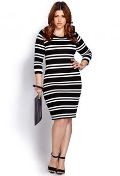 STYLISH CURVES PICK OF THE DAY: FOREVER 21 FESTIVE STRIPED PLUS SIZE SWEATER DRESS
