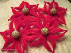 cottage instincts: Christmas Craft: Chenille Poinsettia Garland Tutorial