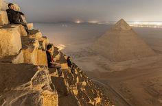 Sitting On The Pyramid, Egypt By Simon Vorkston