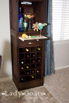 I want to make this!  DIY Furniture Plan from Ana-White.com  Build a beautiful bar system, inspired by the Pottery Barn modular bar collection. These simple, free DIY plans are for the wine grid base.