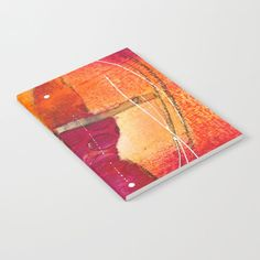 Journal, Orange and red artwork printed journal, lined pages by JudyApplegarthArt on Etsy