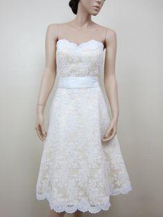 Ivory strapless lace wedding dress alencon lace with sash. $299.99, via Etsy.