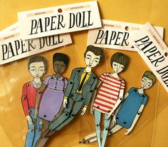 miniature moveable paper doll (in red stripes). $8.00, via Etsy.