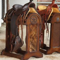 Known for using quality craftsmanship passed down for generations, the King Ranch Saddle Shops blends the tradition of the Old West with the style and elegance of contemporary southern living. Saddle Shop, Saddle Rack, Saddle Chair, Western Decor, Rustic Decor, Western Tack, Western Saddles, Equestrian Decor, Horse Saddles