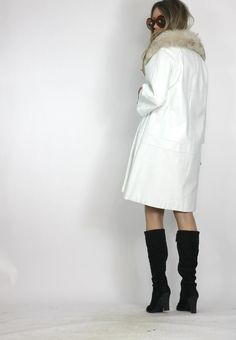 LUXURIOUS SILVER PLATINUM FOX FUR & WHITE SHEARLING LEATHER COAT ...