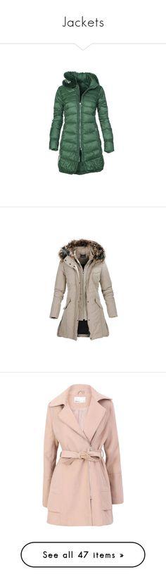 """Jackets"" by milenam204 on Polyvore featuring outerwear, coats, long sleeve coat, ruffle coat, long green coat, green coat, stand collar coat, burgundy, burgundy parka coat and cinch coats"