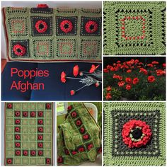 #Poppies #Afghan by Sue Solakian in Micheal's Loops & Threads Impeccable in #christmas colors will brighten any #winter scene.