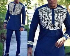 Mens african wear with embroidery, embroidered mens african clothing, mens native wear, mens kaftan, African Male Suits, African Clothing For Men, African Women, African Attire For Men, Latest African Wear For Men, African Shirts For Men, Wedding Suit Styles, Wedding Suits, Dress Wedding