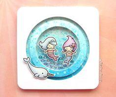 DreamyBreeze: Shaker Slider Card ft. Lawn Fawn | Mermaids