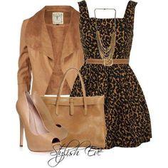 vestido onça+casaco