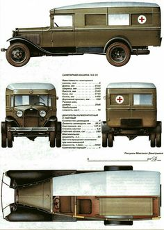 (M ' Soviet ambulance , 1941 Army Vehicles, Armored Vehicles, Plymouth Savoy, Wood Toys Plans, Soviet Army, Engin, Car Advertising, Red Army, Car Drawings