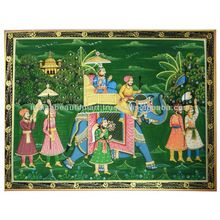 ROYAL MINIATURE ART ON SILK DECORATIVE HANDMADE MUGHAL EMPEROR PAINTING INDIA
