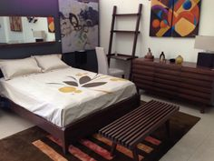 Brown Colors for a classic bedroom with a nice modern lamp and picture #EQ3ModernFurniture www.aruba-furniture.com