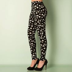 Leggings | Black Womens Heart Print Leggings | Get The label