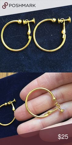 18k heavy gold plated clip ons NWOT 18k heavy gold plated clip on hoop earrings. NWOT Jewelry Earrings