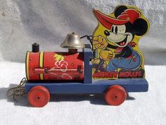 Vintage Fisher Price #465 Mickey Mouse Choo Choo Pull Toy