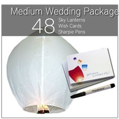 Medium Sky Lantern Wedding Package    Perfect for a your wedding, our Medium Sky Lantern Wedding Package includes: 48 white sky lanterns, 48 black Sharpie markers, and 48 wish cards for the bride and groom.