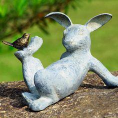 Bird and Bunny Garden Sculpture