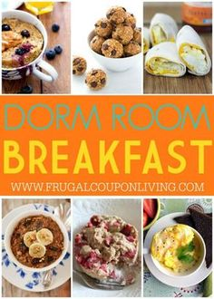 No question about what's for breakfast anymore. These No Bake Breakfast Dorm Room Recipes require no oven or stove top. Make and go recipes for college on Frugal Coupon Living. (Mug Recipes Oven) College Dorm Food, Dorm Room Food, College Cooking, College Meals, Healthy College Snacks, College Recipes, Healthy Breakfasts, Cooking For A Crowd, Cooking On A Budget