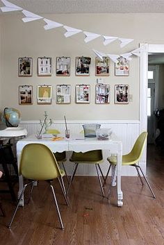 clipboard wall art : when i need symmetry and can't find enough matching frames. good for making different sized photos match.