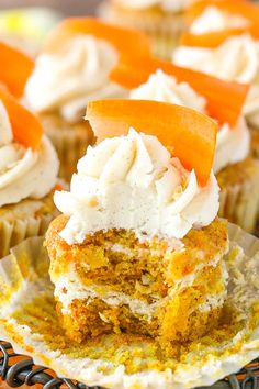 These Carrot Cake Cheesecake Swirl Cupcakes are made with moist carrot cake and cinnamon cheesecake layered together in one tasty cupcake! They are topped with cinnamon cream cheese frosting for a fun and delicious treat! So I am finding that one of the most fun things about being a new mom is watching the twins …