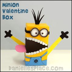 Valentine's Day Craft - Minion Valentine's Day Card Holder Craft from www.daniellesplace.com