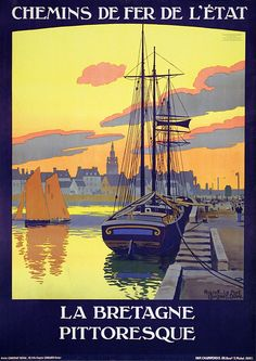 La Bretagne par Constant Duval - Train travels in the Worlds Tourism Poster, Poster Ads, Ville France, France City, Railway Posters, Art Deco Posters, Beautiful Places To Travel, Illustrations And Posters, Vintage Travel Posters