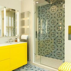 It may be grey outside, but our urban chic furniture injects sunshine on the gloomiest of days. Moroccan-inspired, blue mosaic tiles work with the bold yellow to create a eye-catching scheme to brighten any home. Big Bathrooms, Beautiful Bathrooms, Blue Mosaic Tile, Bathroom Images, Urban Chic, Bathroom Furniture, Bathroom Inspiration, Home Projects, Moroccan