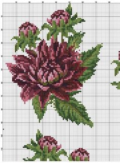 55 Flower Graphics in Cross Stitch Gr Beaded Cross Stitch, Cross Stitch Flowers, Cross Stitch Embroidery, Cross Stitch Patterns, Christmas Embroidery Patterns, Embroidery Designs, Magazine Crafts, Crochet Chart, Cross Stitching