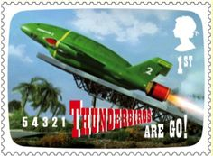 Stamp showing Gerry Anderson tv show Thunderbirds.