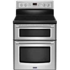 Maytag Gemini 6.7 cu. ft. Double Oven Electric Range with Self-Cleaning Convection Oven in Stainless Steel-MET8720DS at The Home Depot