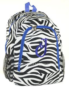 Purple Trim Zebra Backpack With Free Embroidery