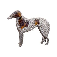 """Antique Diamond 15k Gold & Silver Diamond """"Borzoi"""" Dog Brooch with Carved Amber by"""