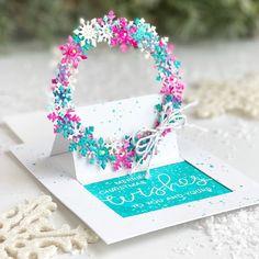 Festive Wreaths Slider Card - Large Die of the Month Club - Spellbinders Snowflake Wreath, Snowflakes, Slider Cards, Spellbinders Cards, Interactive Cards, Shaped Cards, Pop Up Cards, Folded Cards, Sliders