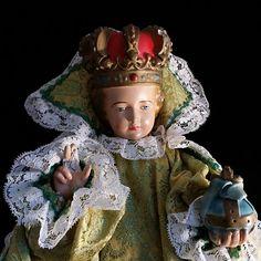 Large Infant Child Jesus of Prague in Handmade Gown from vintagecatholic on Ruby Lane Irish Customs, Infant Of Prague, Irish Wedding, World Religions, Religious Art, Vintage Dolls, Green And Gold, Catholic, The Past