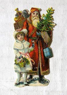 Vintage Victorian Era Die Cut Scrap Small Old Style European Santa W/ Tree Girl