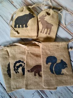 Party Favor Bags Burlap Woodland animals camping by BooBahBlue