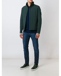 Stone Island | Blue Zipped Jacket for Men | Lyst