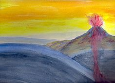 Waldorf ~ 6th grade ~ Geology & Mineralogy ~ Subduction Zones ~ watercolor painting