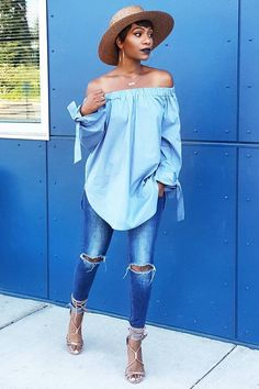 I Got The BluesTop by Snazzyclozet , Jeans by H&M , Heels by Shoedazzle Fashion Look by KeKe Cameron