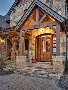 Front entrance stone, front door wood beams