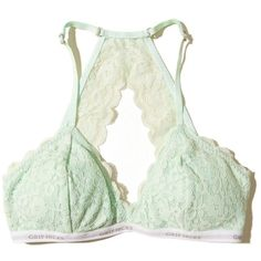 Hollister Removable-Pads Lace Racerback Triangle Bralette ($20) ❤ liked on Polyvore featuring mint lace