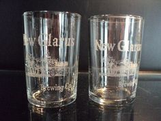 """2 New Glarus WI. Brewing Co. Small Glass 3 1/2"""" Tall Beer Wagon Vintage"""