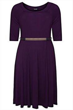 Purple+Plain+Skater+Midi+Dress+With+Gold+Bar+Waist+Belt+50645