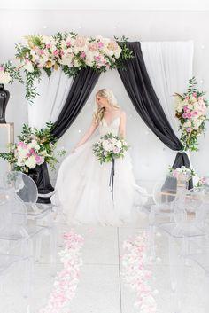 modern white black and pink wedding ceremony