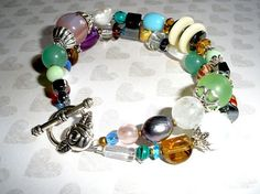 CHUNKY TWO Strand Beaded BRACELET Handcrafted Chunky Gemstone